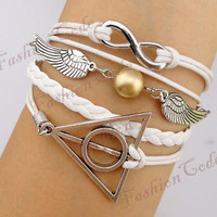 Bracelet  Infinity Wings & Deathly Hallows by TheGiftoftheMagi