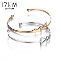 17KM Boho Small Scratch Triangle Open Bracelet Bangles for Women 2017 Vintage Female Rose Gold Color Cuff Bangle Jewelry