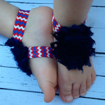 4th of July Baby Barefoot Sandals...Baby Barefoot Sandals.. Red White Blue baby sandals