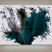 Large Wall Art Abstract Turquoise Acrylic Home Decor , Modern Canvas Art, Office Wall Art, Contemporary Art Home Decor by Nandita Albright