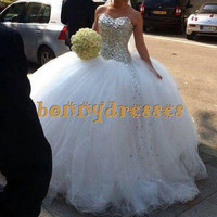 2014 Hot Selling Sexy Sweetheart Ball Floor Wedding Dresses,Shinning Crystals Luxury Wedding Gowns For Brides,Gorgeous Bridal Dresses