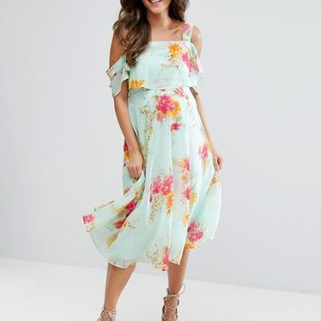 ASOS Maternity Cold Shoulder Flutter Sleeve Midi Dress in Floral at asos.com
