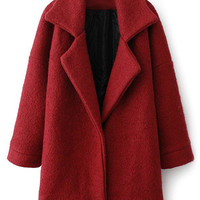 ROMWE | Romwe Color Block Long-sleeved Red Woolen Coat, The Latest Street Fashion