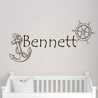 Wall Decals Custom Personalized Name Decal Steering Wheel Anchor Vinyl Sticker Boy Bedroom Nursery Baby Room Home Decor Ms431