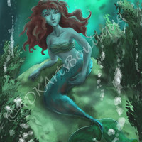 Fantasy Art, Digital Painting, Art Print, The Mermaid