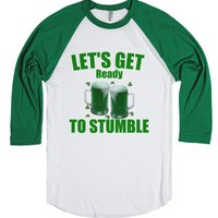 Let's Get Ready To Stumble-Unisex White/Evergreen T-Shirt