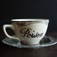 Poison & Toxic Painted Teacup and Saucer by TheVintageParlor