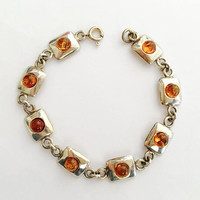 Pretty Sterling Silver 7.5 Inch Bracelet with Amber Stones on Sterling Rectangles, Modernist Style Bracelet