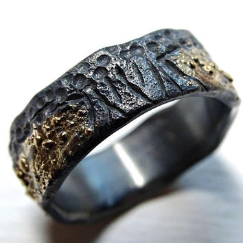 rustic viking ring, celtic wedding band, tree of life ring black silver 14k gold, mens wedding ring molten gold and silver, Yggdrasil ring