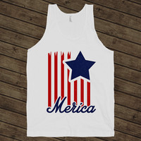 Merica, 4th Of July Shirt, America, Country Pride, Independence Day on a White Tank Top