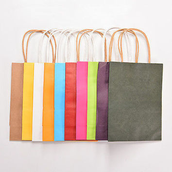 5 PCS Luxury Party Bags Kraft Paper Gift Bag With Handles Recyclable Loot Bag ls