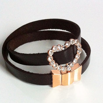 Boho Leather Rose Gold Double Wrap Friendship Cuff Bracelet Pink Rhinestone Heart Magnetic Clasp Flat Leather Wrap Cuff Dark Brown Canadian