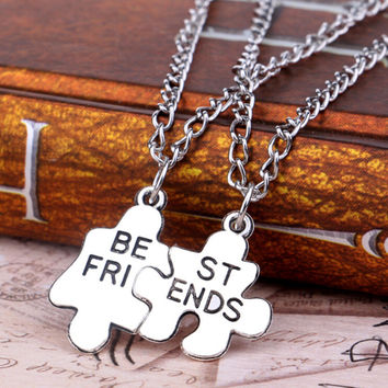 2 Piece Best Friends Geometric Puzzle Necklace Pendant
