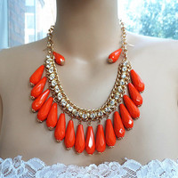 Orange Water Drop Bubble Necklace Set,Diamond Statement Necklace Bib necklace, Drop Earring, wedding bridesmaid jewelry . Fashion trends