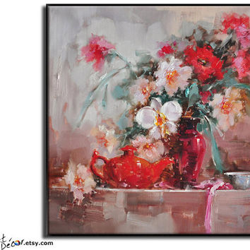 Original Oil Painting Flower Painting Large Abstract Art Still Life Painting Canvas Art Bedroom Art Living Room Art