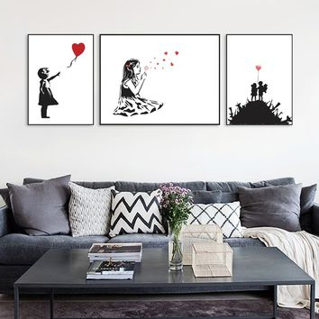 Abstrcat Black White Banksy Hipster Pop Poster Wall Picture Living Room Canvas Painting No Frame Home Decor