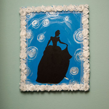 "FREE SHIPPING   ""Cinderella""  Acrylic Silhouette Painting of Cinderella with her Glass Slipper"