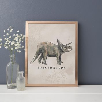 Triceratops Dinosaur Watercolor Art Print