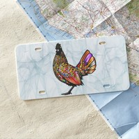 Colorful Rooster Smokey Background Texture License Plate
