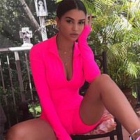 Macheda Sexy Bodysuit Women Half Open Collar Long Sleeve Jumpsuit Shorts Sporting Outfit Tracksuits Ladies Solid Playsuit