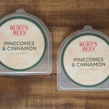 NEW Set of 2 Burt's Bees Pinecones & Cinnamon Soy Wax Melts 2.5 ounces oz each