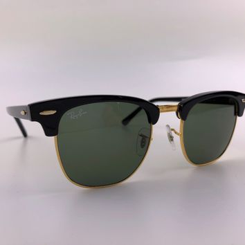 Ray-Ban RB3016 51 mm Clubmaster Unisex Sunglasses with Black Frame and Green...