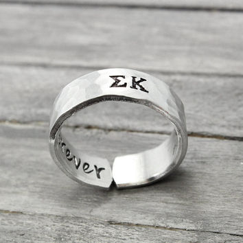 Sigma Kappa , Hammered Sorority Ring, personalized jewelry, hand stamped ring, handstamped jewelry, Sorority Jewelry