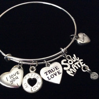 Silver Affections Heart Expandable Charm Bracelet Adjustable Bangle Trendy Gift