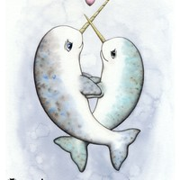 Supermarket: Narwhal Love Print from Noosed Kitty