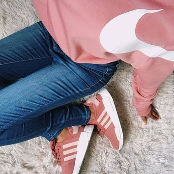 Adidas NMD Pink Sneakers / Nike Long Sleeve Cropped Sweatshirt Tagre™