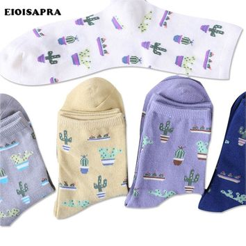 [EIOISAPRA]New Plant Cactus Pattern Funny Socks Women/Girls Lovely Comfortable Cute Socks Cotton Harajuku Chaussette Calcetines