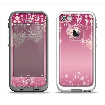 The Pink Sparkly Chandelier Hearts Apple iPhone 5-5s LifeProof Fre Case Skin Set