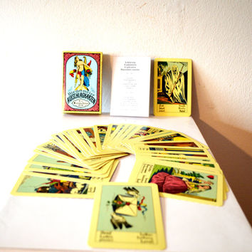Vintage Tarot Cards / French Tarot Cards / Vintage Antique Tarot Cards / Fortune Teller Cards and Instruction Booklet /Set of 32 Tarot Cards