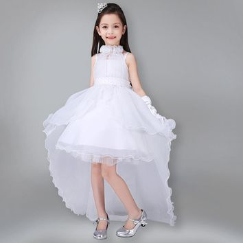 New Summer White Girl Dress for Party Wedding Children Princess Costume High Quality Bow Sleeveless Kids Dresses with Long Tail