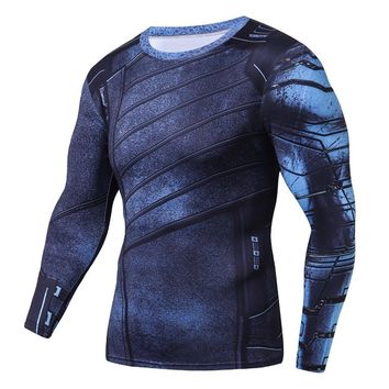 Winter Soldier 3D Printed T shirts Men Avengers 3 Compression Shirt 2018 Comics Cosplay Costume Long Sleeve Fitness Tops Male