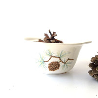 Vintage Stoneware Pinecone Bowl. Serving Bowl. Sugar Bowl. WS George. 1950s. Rustic Pattern