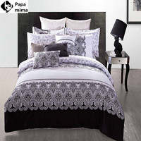 Luxury black and white bedding sets 4pcs 100% cotton duvet bed quilt covers comforters bedclothes for king queen full size sheet