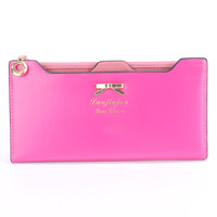 Magenta High Polish Bow Accent Wallet Clutch