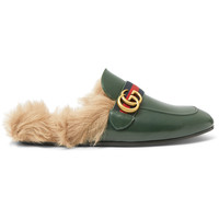 Gucci - Princetown Webbing-Trimmed Shearling-Lined Leather Backless Loafers