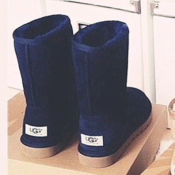 UGG Short boots antiskid warm lazy sheep fur simple ugg boots canister boots Fresh Navy blue