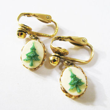 Christmas Earrings - Vintage Oval Cameo Style Christmas Dangle Earrings - Raised Christmas Tree - Christmas Gift