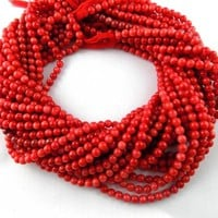 """5 Strand Red Sea Bamboo Coral Smooth Balls Rondelle Stone Beads 3-5mm 14.5"""" Long/ Coral /Smooth Beads/Gemstone Bead/Jewelry Making Bead."""