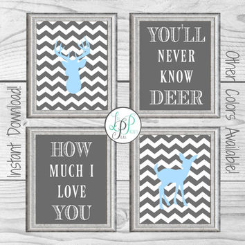 Deer Nursery Decor, Chevron Deer Prints, Woodland Nursery Print, You Are My Sunshine Print, Blue and Grey Nursery Decor, Blue and Grey Baby