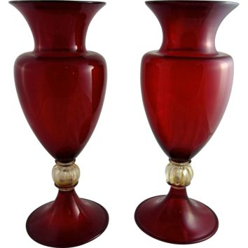 Pair of Art Deco Murano Ruby Glass Vases