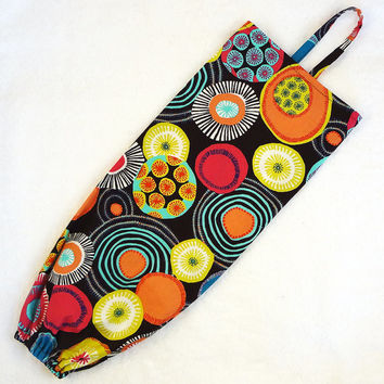 Fabric Plastic Bag Holder, LAST ONE, Grocery bag dispenser storage kitchen cotton HTF brown mod bold flowers - Ready to ship