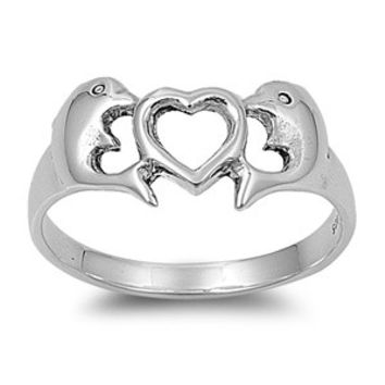 925 Sterling Silver Dolphin Heart Cove Ring
