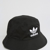 adidas Originals Logo Bucket Hat In Black at asos.com
