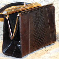 "1940's Sable Colored Snakeskin Top Handle ""Kelly"" Bag"