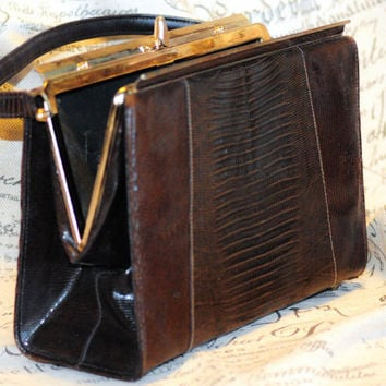 """1940's Sable Colored Snakeskin Top Handle """"Kelly"""" Bag"""
