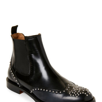 Black Studded Wingtip Chelsea Boots